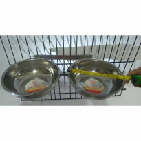 Tempat makan anjing kucing double holder crome with bowl 18cm