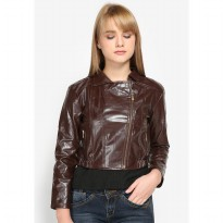 Mobile Power Ladies Cropped Synthetic Leather Zipper Jacket - Brown K7103