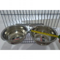 Tempat makan anjing kucing double holder crome with bowl 22cm