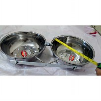 Tempat makan anjing kucing double holder crome with bowl 26cm