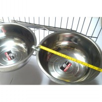 Tempat makan anjing kucing double holder crome with bowl 28cm