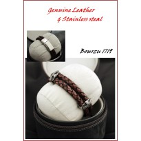GELANG BOURZU 1719 Genuine Leather & Stainless Steal