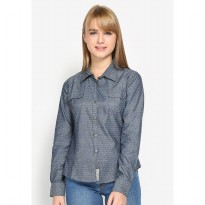 Mobile Power Ladies Basic Printing XO Long Sleeve Shirt - Denim Grey L8316