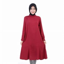 Blouse Dress Wanita Rayon Bangkok Maroon [Dress Meisya Maroon SW]