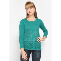 Mobile Power Ladies Sweater Nice Green Knitting Variation - Green MR303