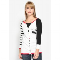 Mobile Power Ladies V-neck Cardigan Combination - White MR305