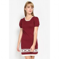 Mobile Power Ladies SS Knit Mini Dress Combination - Maroon MR704