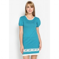 Mobile Power Ladies SS Knit Mini Dress Mango Combination - Green Tosca MR705