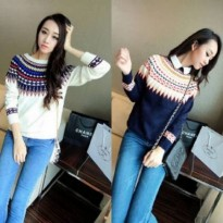 Blouse Sweater Wanita Rajut Putih Dan Navy [sweater lila RO]