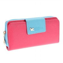 Dompet Wanita Long Zipper Wallet - Rose