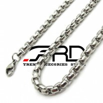 Kalung Pria Rantai Bulat Titanium Silver BIG SIZE Necklace Chain 6 mm