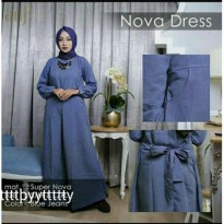 Baju Muslim Maxi Wanita Supernova Biru [NOVA DRESS BLUE NI]