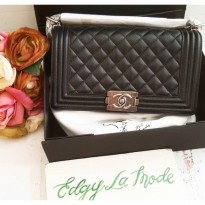 [PROMO] CHANEL LEBOY 25 CM BLACK NOIR CAVIAR SHW ITALY LEATHER