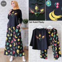 Baju Muslim Setelan Muslim Wanita Balotelly Black [Set Kulot Flexty Black TL]