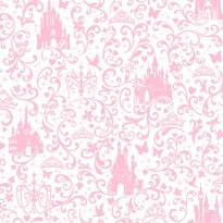 Small Scroll With Castle Light Pink and White