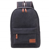 Mo And Y Tas Ransel Vintage Solid Canvas Backpack - Black