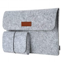 Sleeve Case Laptop Macbook 12 Inch with Pouch - Light Gray