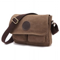 Dxyizu Tas Selempang Bahan Canvas - Brown