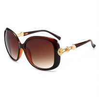 Kacamata Wanita Mewah Sunglasses Anti UV - Brown