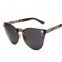 Kacamata Wanita Skull Gothic Sunglasses Anti UV - Black
