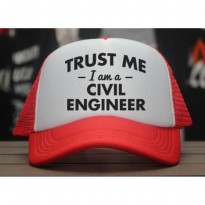 [JersiClothing] Topi Trucker Trus Me I Am A Civil Engineer - Merah Putih