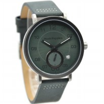 Hush Puppies 3862M-2511 Jam Tangan Pria Leather Strap Hijau Ring Silver Hitam