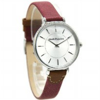 Hush Puppies 5014L-2509 Jam Tangan Wanita Leather Strap Merah Ring Silver