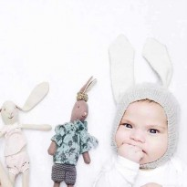 Topi Kupluk Bayi Lucu Model Bunny Ear - Gray