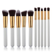 Kuas Make Up Wajah 10 PCS - White/Gold