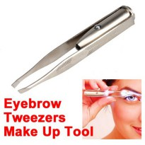 Pinset Pencabut Alis Eyebrow Tweezer with LED Light - Silver