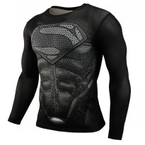 Baju Olahraga Ketat Pria Crossfit MMA Compression Shirt Long Sleeve Size M - Black/Black
