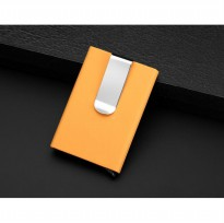Luxury Men Automatic Pop Up Aluminum Card Holder RFID Blocker Yellow