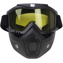 Kacamata Googles Mask Motor Retro - Black/Yellow