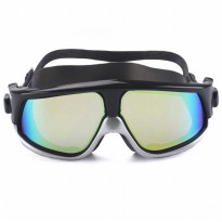 Kacamata Renang Diving Snorkling Large Frame Anti Fog UV Protection - Black/Silver