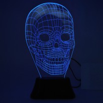 Portable 3D Illusion Skull Shape Night Lamp LED / Lampu 3D Desain Tengkorak - Black