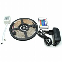 RGB LED Strip 3528 300 LED 5 Meter with 12V 2A Light Controller And Remote Control - Black