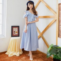 Gracia Ruffle Long Dress - BLUE