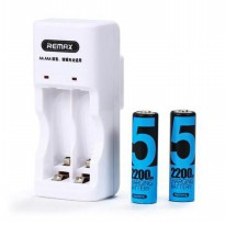 Remax 2 Slot Battery Charger with Battery No 5 - RT-DC01 - White