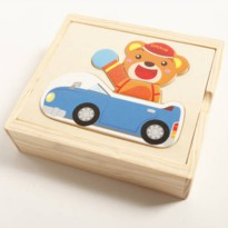 [globalbuy] Hoilday sale 1pc change clothes bear animals jigsaw puzzle box education match/564162