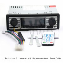 Audio Player Mobil 12V 1Din FM Receiver AUX USB SD Card Slot - Black