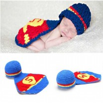 Kostum Bayi / Rajut Superman Foto Bayi Baby Crochet Blue Costume Photography