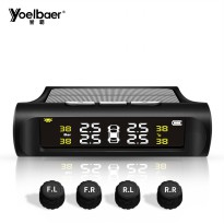 Yoelbaer Monitoring Tekanan Ban Mobil Wireless Real Time TPMS Solar Power - Black