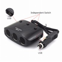 USB Car Charger 2 3.1A Port dengan 3 Cigarette Plug 120W - Black