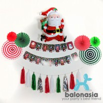 Balonasia Dekorasi Backdrop Banner Set Natal Santa Run
