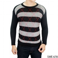 Sweater Vest Mens Fashion Rajut Hitam Kombinasi – SWE 678