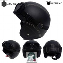 Helm Retro Kacamata Kalep warna Black Solid