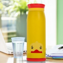 Colourful Cute Cartoon Thermos Insulated Mik Water Bottle 500ml - Yellow