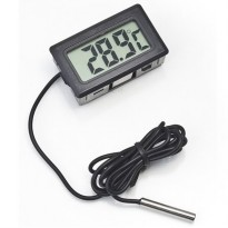 Digital Thermometer with Probe for Aquarium Length 1m - Black