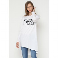 Mobile Power Ladies Long Sleeve T-shirt Flocking Text - White JL101