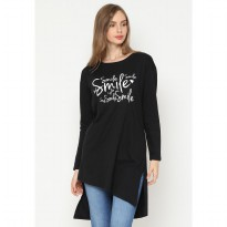 Mobile Power Ladies Long Sleeve T-shirt Flocking Text - Black JL103